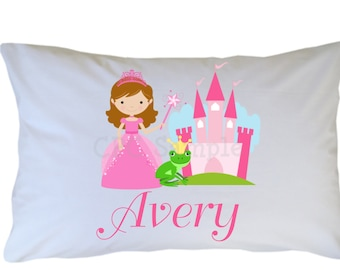 Personalized Princess Pillow Case, Standard, Travel, Toddler Size