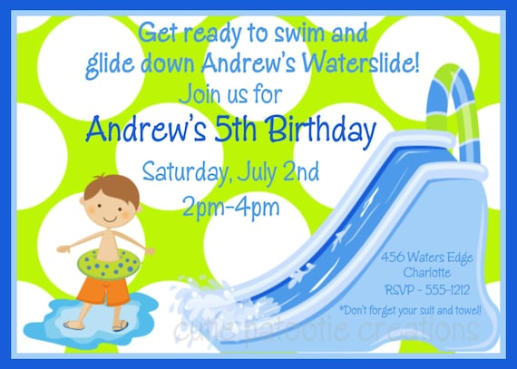 Waterslide Birthday Invitation Waterslide Birthday Party
