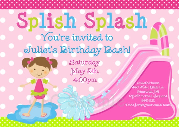 Pool Party Invitation Water Slide Birthday Invitation