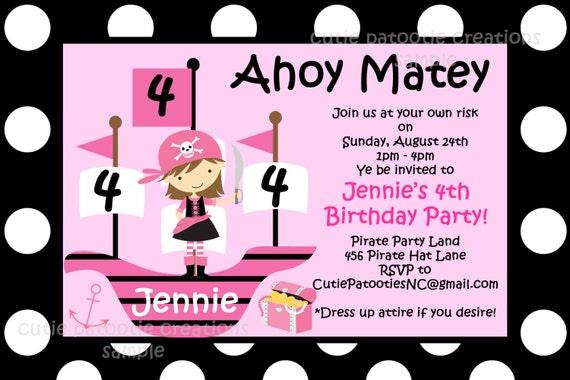 Pirate birthday invitation girl pirate pink birthday party il570xn filmwisefo