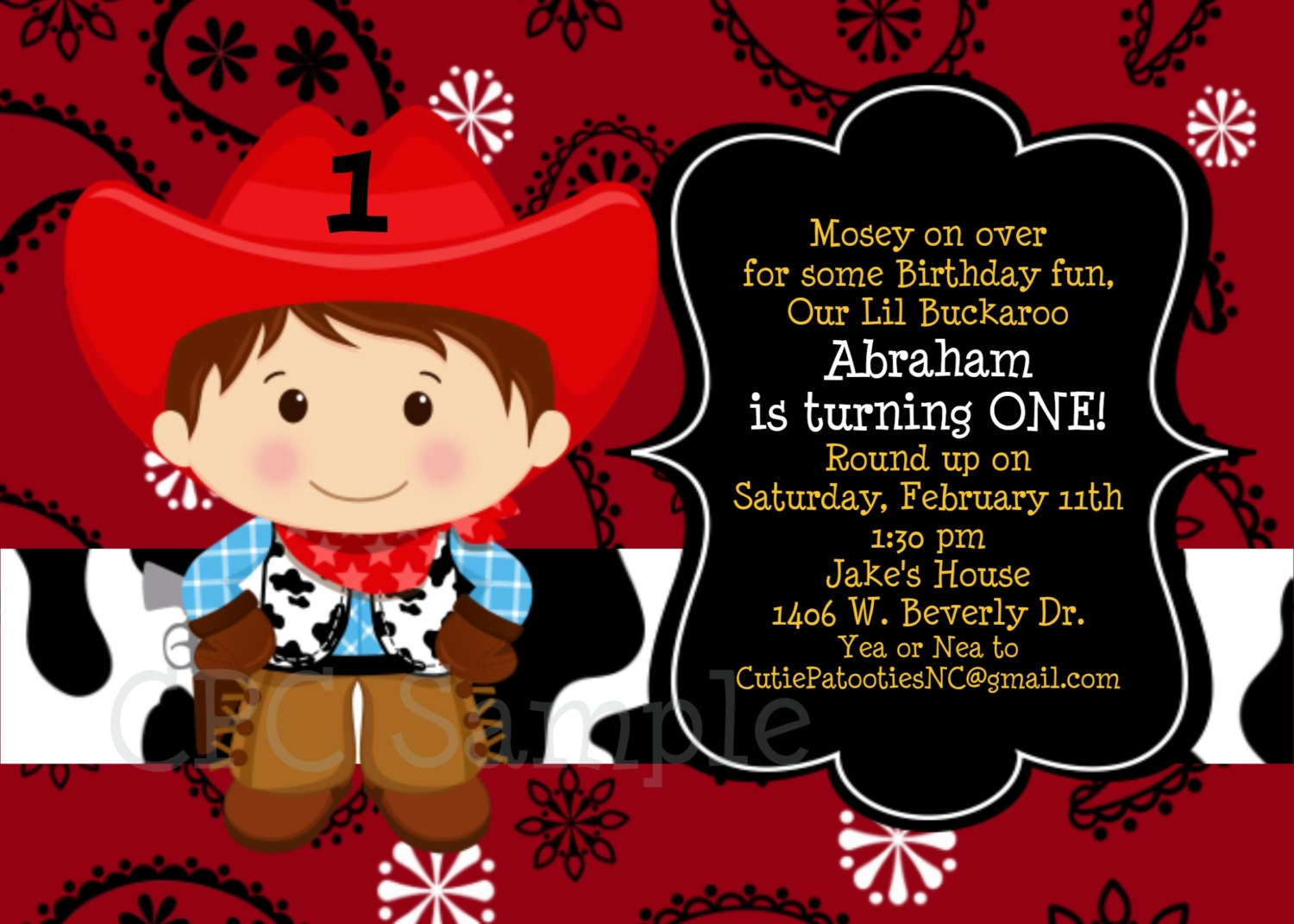 Cowboy Birthday Invitation 1st Party