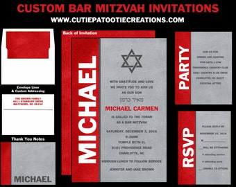Bar Mitzvah Invitations | Red Grey Black Bar Mitzvah Invitation