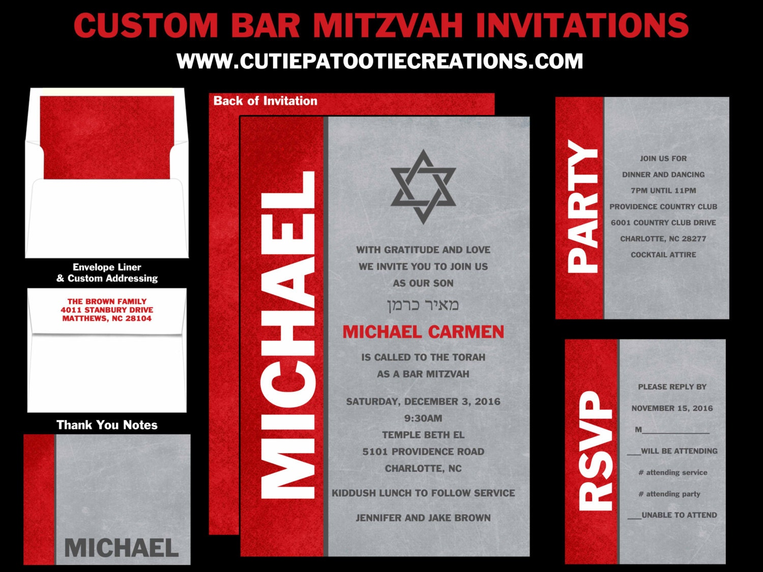 Red Grey and White Bar Mitzvah Invitations Save the Date   Etsy