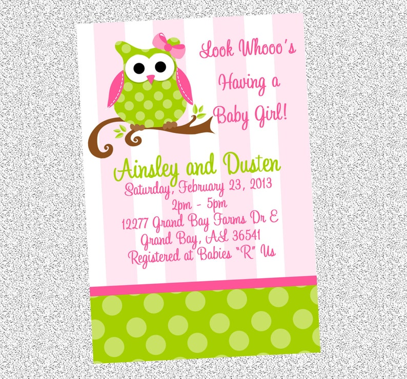 Pink And Green Owl Birthday Invitations Printable Or Printed