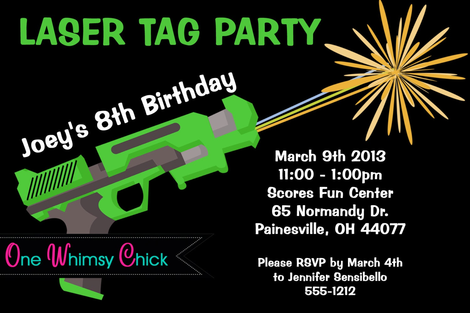 photograph about Laser Tag Birthday Invitations Free Printable named Laser Tag Birthday Invitation - Printable or Revealed - Laser Tag Invites for Boys or Women