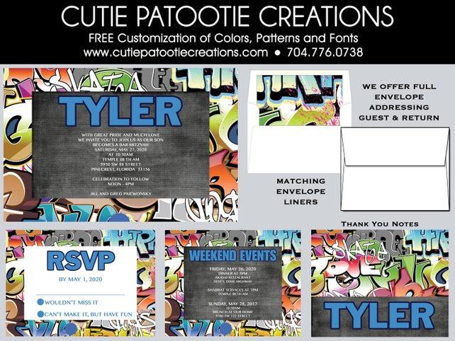 graffiti bar mitzvah invitations save the date card rsvp card