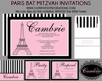 Bat Mitzvah Invitations - Paris Theme - Eiffel Tower - Pink Black White - RSVP Card, Envelope Addressing - Save the Date - Use for ANY Event
