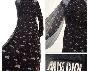 Rare Vintage 70s Christian Dior Black Silk Chiffon Floral Maxi Evening Dress 8 Small
