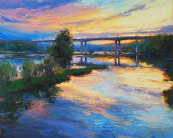 Colors of the James, 24x24 oil. Richmond, Virginia sunset painting.