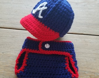 Crochet NAVY BASEBALL HAT w// D.COVER PHOTO PROP BABY SHOWER GIFT