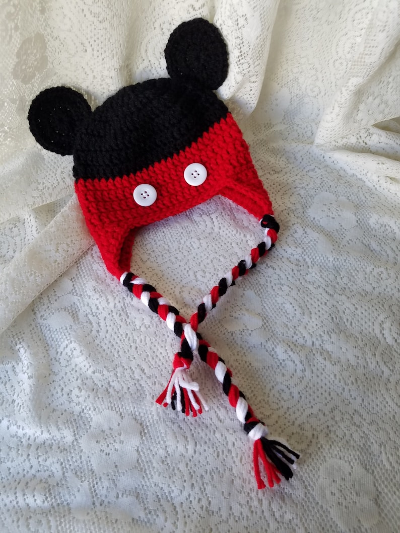 97395667bfcec7 Crochet Mickey Mouse inspired Hat Infant Baby Toddler Photo | Etsy
