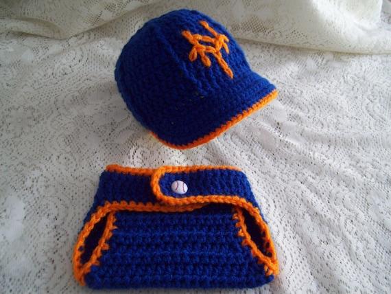 5e5e7e06c31 Blue   Orange NY METS Baseball Hat w Brim and Diaper Cover Set