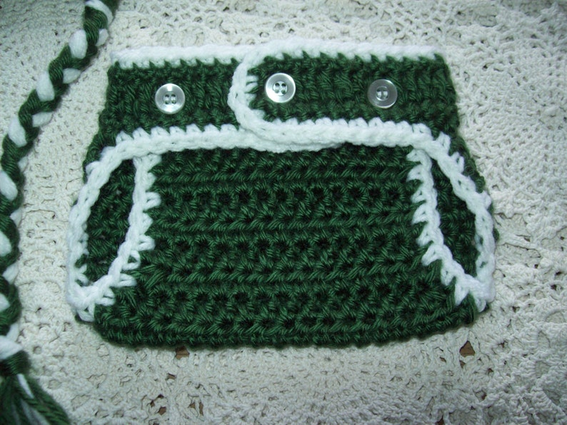 Crochet New York NY JETS FOOTBALL Earflap Braided Ties Pompom Hat w Diaper Cover Infant Baby Toddler Your Team Colors Boy or Girl