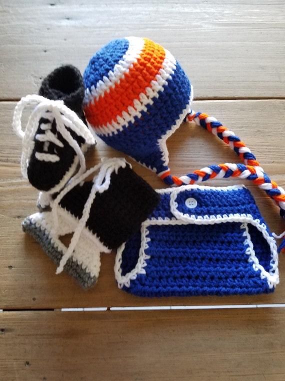 Crochet New York ISLANDERS Ice Hockey HAT Warm Winter Baby Infant Newborn Toddler Photo Prop Blue Orange White Earflap Braided Ties