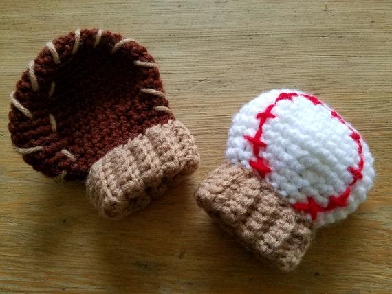 Haak Honkbal Handschoen Wanten Wanten Foto Prop Pasgeboren Etsy