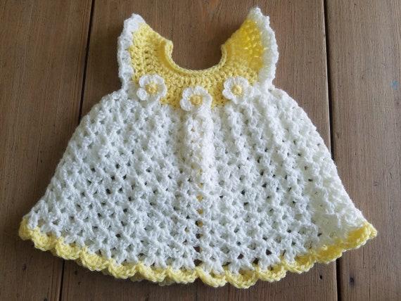 733a58e4d Yellow White Daisy Flower Angel Wing Pinafore Dress Crochet