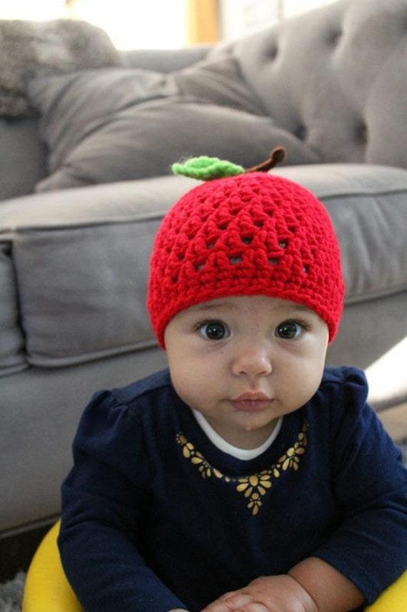 Red Apple Hat with Leave and Stem Beanie Infant Baby Newborn  cfb63980baf0