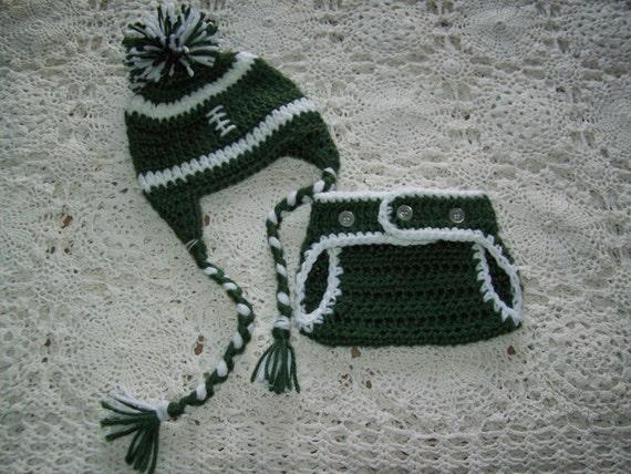 695669e7101 Crochet New York NY JETS FOOTBALL Earflap Braided Ties Pompom