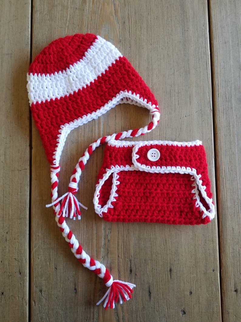 654c68ee1 Detroit Red Wings Ice Hockey HAT and DIAPER COVER Set Photo Prop Hand  Crochet Sports Halloween Costume Red & White