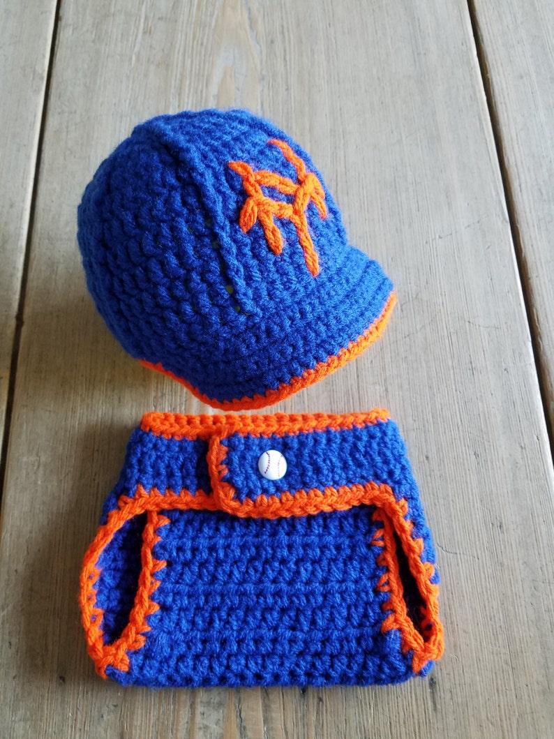 08cd451fa45 NY METS Baseball Hat w Brim   Diaper Cover Set Photo Prop