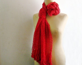 Red Cotton Scarf Knit Summer Scarf