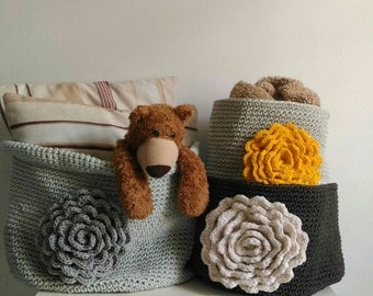 Set of 3 crochet baskets Storage  bins Handmade containers Large home decoration boxes