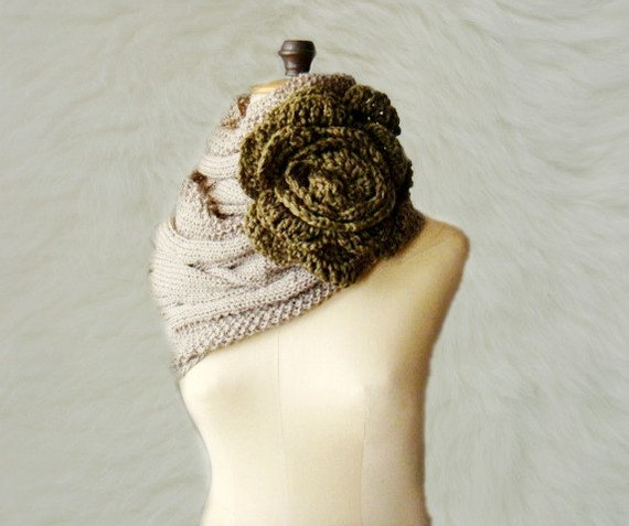 Cowl Knitting Pattern Mocha Cabled Infinity Loop Circle Scarf Etsy