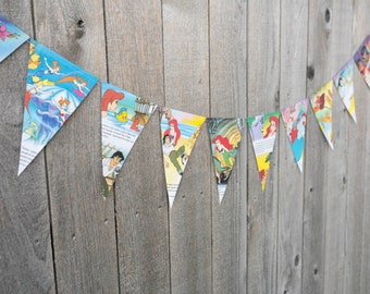 Book Bunting - The Little Mermaid - Party decoration, bunting, garland, upcycled - Paper Decor -  Ready to ship