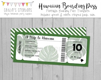 Printable Hawaii Boarding Pass - Instant Download - Green, white, and black - Invitation, birthday, wedding - Template - Digital Print