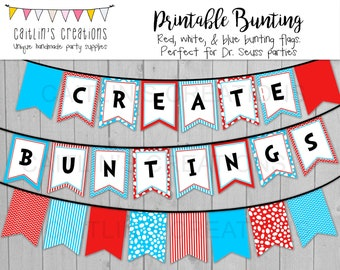 Printable Red and Blue Bunting Template - Classroom decor, birthday party, baby shower, library decor - Swallow tail flags - DIY