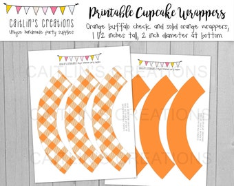 Orange Buffalo Plaid Cupcake Wrappers - Fall celebration - Instant Download - Halloween, Thanksgiving, Fall - DIY, Printable, Party decor