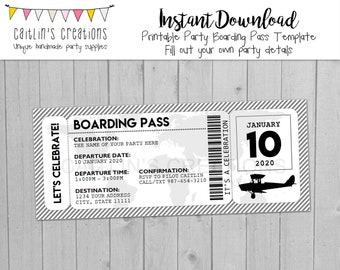 Printable Boarding Pass Invitation - Instant Download - Gray, white, and black - Invitation, birthday, wedding - Template - Digital Print