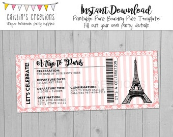 Printable Paris Boarding Pass Invitation - Eiffel Tower -Pink damask stripes - Invitation, bridal shower, birthday- Template - Digital Print