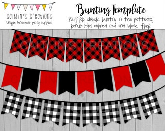 Printable Buffalo Plaid Banner - Christmas decor, birthday party, wedding, baby shower, dorm room - Swallow tail flags - Template DIY