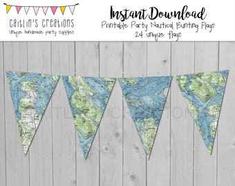 Printable Nautical Map Bunting - Instant Download -DIY Party, Wedding, Shower Garland Bunting Flag - Triangle Bunting, DIY