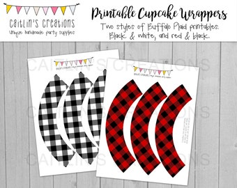 Printable Buffalo Plaid Cupcake Wrappers - Winter celebration - Red - Instant Download - Christmas Party - DIY, Printable, Party decor