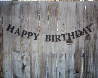 Black Birthday Banner - Happy Birthday Banner - Black cardstock - clear thread