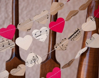 Love Notes Garland - 3, 5, or 10 yards - Vintage sheet music & red card stock hearts - Ready to ship