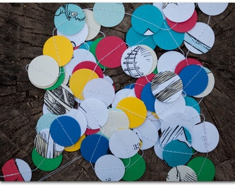 Dr. Seuss Paper Circles Garland - 9 feet - Green Eggs & Ham with red, blue, green and yellow card stock - Ready to ship