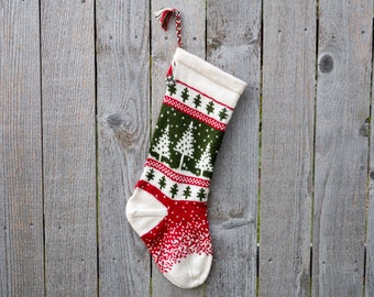 Hand Knit Christmas Stocking - Trees & Falling Snow - Red, White, Green  - Made to Order - Customizable