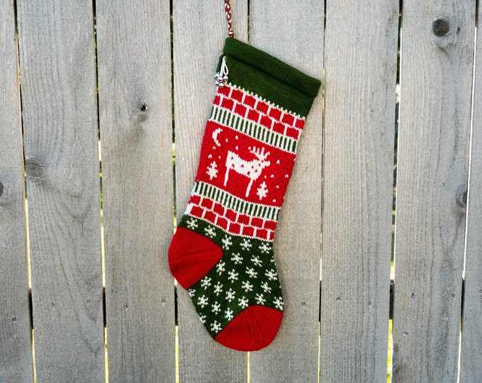 Featured listing image: Hand knit Reindeer Christmas Stocking - Red, White, Green  - Made to Order - Customizable