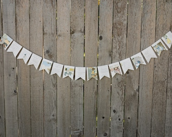 Nursery Rhyme Book Bunting - Mother Goose - Party decoration, baby shower bunting, garland, upcycled - Paper Decor -  Ready to ship