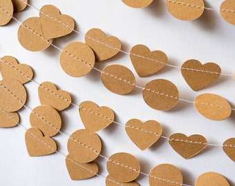 Heart or Circle Garland - Brown Craft Paper - Wedding, Baby shower, Bridal Shower - Paper Decor -  Ready to ship