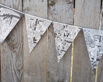 Superman Book Bunting - Comic book party decoration, bunting, garland, upcycled, Superhero - Paper Decor -  Ready to ship