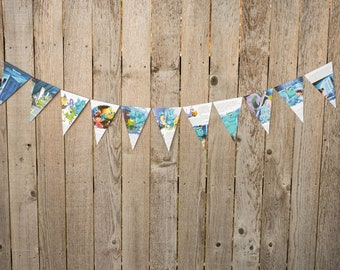 Book Bunting - Monsters Inc - Party decoration, bunting, garland, upcycled - Paper Decor -  Ready to ship
