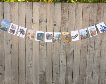 Captain America Book Bunting - Party decoration, bunting, garland, upcycled - Paper Decor -  Ready to ship