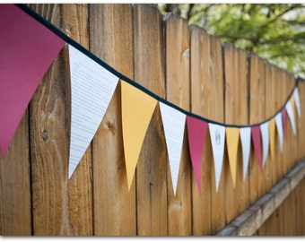 Individual Harry Potter Bunting - Hogwarts House Colors - Gryffindor, Ravenclaw, Hufflepuff or Slytherin - Harry Potter party- Ready to ship