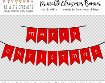 Red Printable Bunting - Merry Christmas - Instant Download - Full lowercase alphabet -DIY Party Garland Bunting Flag, Swallow Tail