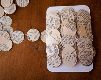 Dictionary Garland - Paper circles - Vintage dictionary - 30, 15 or 9 feet - Christmas decoration - Ready to Ship