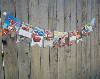 Book Bunting - Cars Book Bunting - Party decoration, garland, upcycled - Paper Decor -  Ready to ship